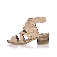 Girls light brown block heel sandals