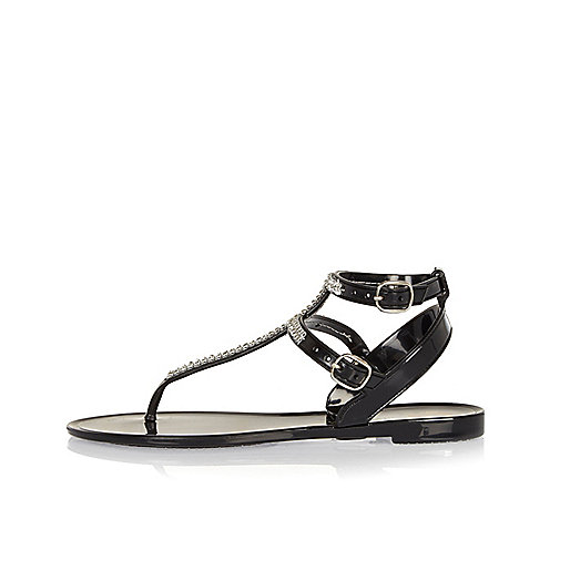 Girls black diamanté jelly sandals
