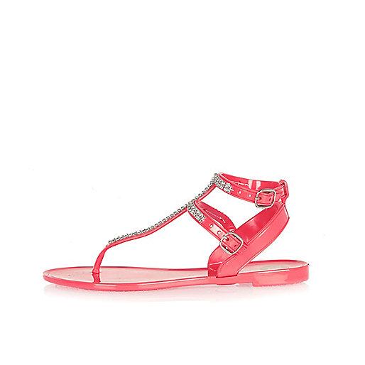 Girls pink diamanté jelly sandals