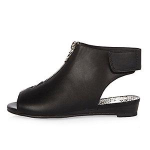 Girls black peep toe wedge boots