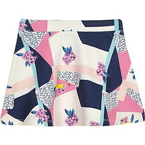 Mini girls pink print skirt