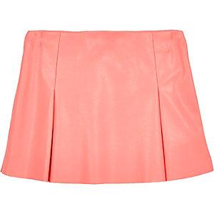 Mini girls pink leather look skater skirt