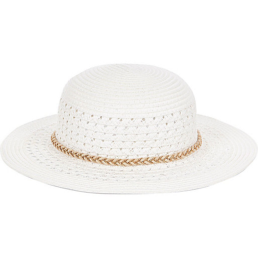 Mini girls white floppy hat