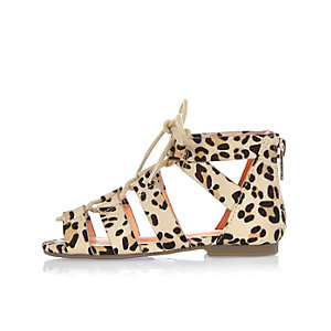 Mini girls brown leopard print sandals