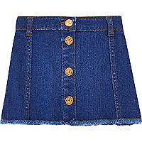 Mini girls blue button denim skirt