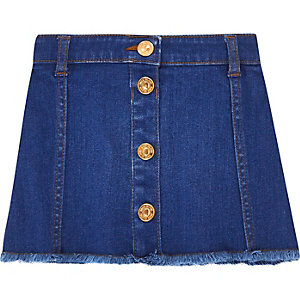 Mini girls blue button denim skirt