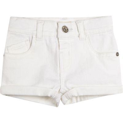 Witte denim short met omslagen voor mini girls