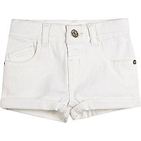 Mini girls white denim turn-up shorts