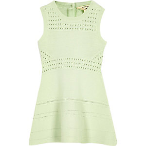 Mini girls green flared dress