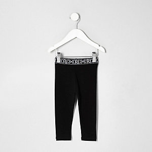 Mini girls black branded leggings
