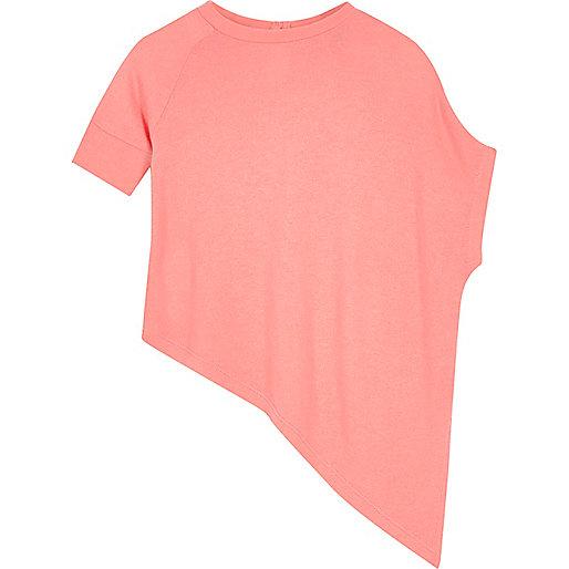 Mini girls pink asymmetric top