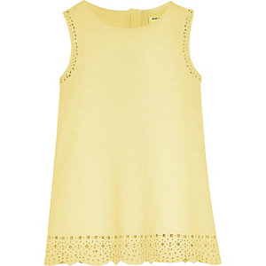 Mini girls yellow laser cut shift dress