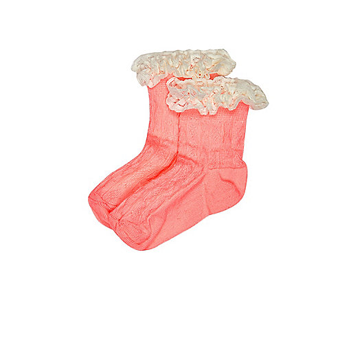 Mini girls coral frilly socks multipack