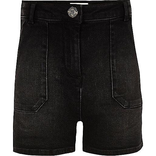 Girls black high waisted denim shorts