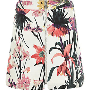 Girls cream floral print zip-up skirt