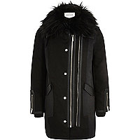 Girls black faux fur collar parka