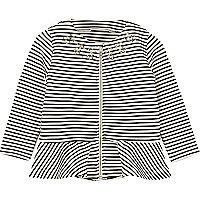 Mini girls black stripe peplum jacket