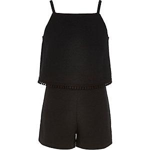 Combi-short noir à double épaisseur pour fille