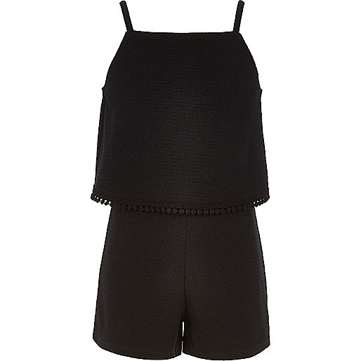 Girls black double layer playsuit