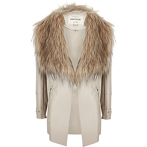 Manteau beige effet cascade fille