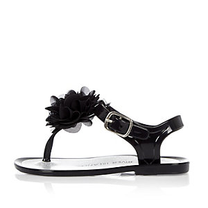 Mini girls black jelly sandals