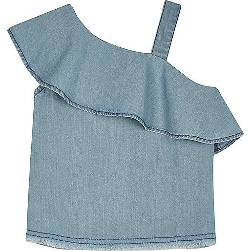 Mini girls light blue frilly one shoulder top