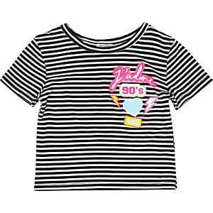 Mini girls stripe badge t-shirt