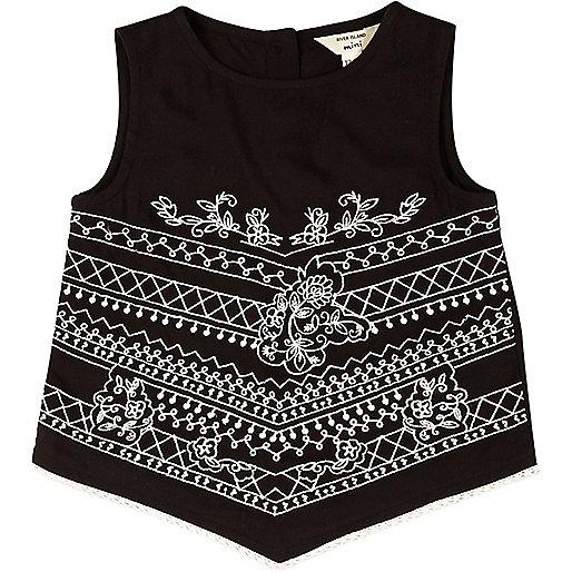 Mini girls black embroidered triangle top