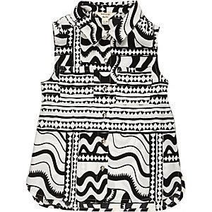 Mini girls black and white print shirt