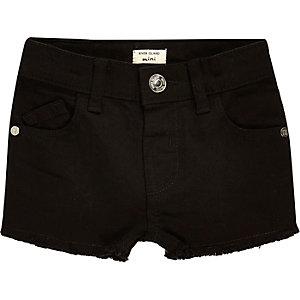Mini girls black frayed denim shorts