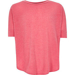 Girls pink knitted circle t-shirt
