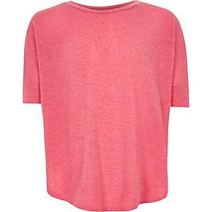 Roze gebreid T-shirt met rondlopende panden voor meisjes