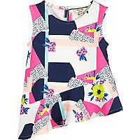 Mini girls pink print asymmetric top