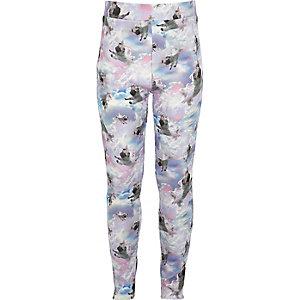 Girls pink pug print leggings