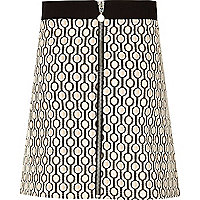 Girls cream print A-line skirt