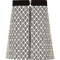 Girls cream print A-line skirt