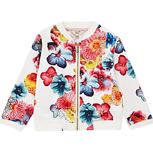 Mini girls pink print bomber jacket