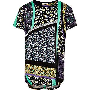 Girls black floral print t-shirt