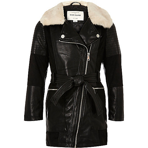 Girls black faux fur collar longline coat