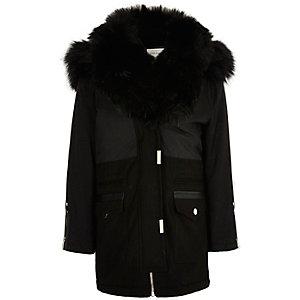 Girls black faux fur hooded parka