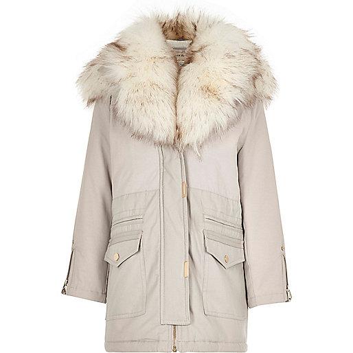Girls grey faux fur hooded parka