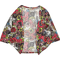Girls red floral print cardigan