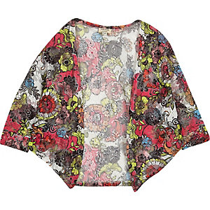 Girls red floral print cardigan