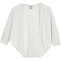 Mini girls white lace panel cardigan