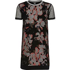Girls black mesh floral print dress