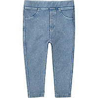 Mini girls light blue denim-look leggings