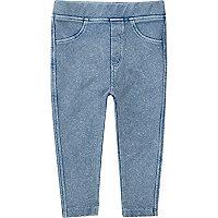 Leggings effet jean bleu clair mini fille