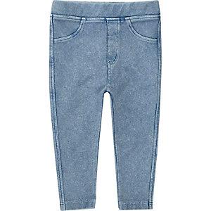 Legging effet jean bleu clair mini fille