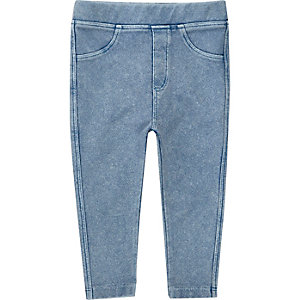 Lichtblauwe denim-look legging voor mini girls