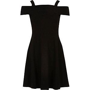 Girls black bardot dress